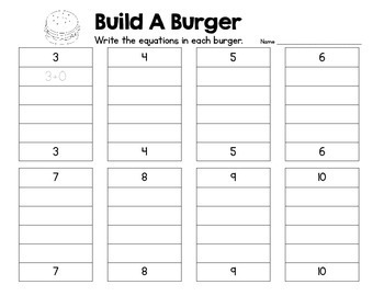 Build A Burger - Addition Facts up to 10