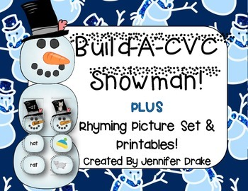 Build-A-CVC Snowman!  PLUS Rhyming Picture Set For Word Families & Printables!