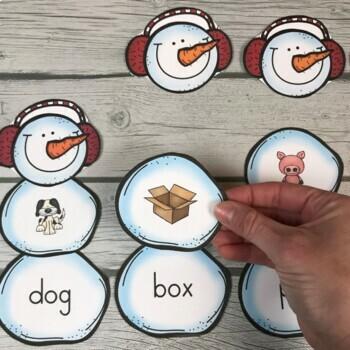 Build A CVC Word Snowman! Winter Literacy Center Activity