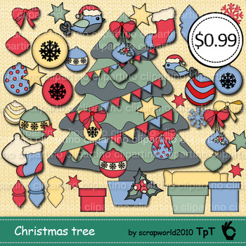 Build A Christmas Tree Clip Art,make own christmas tree 53 elements-Bundle