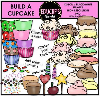 Build A Cupcake Clip Art Bundle {Educlips Clipart}