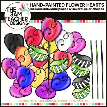 Build A Flower Clipart Set: Painted Heart Flowers