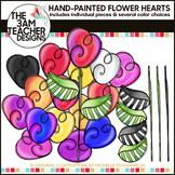 Build A Flower Clipart Set: Painted Heart Flowers