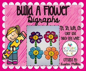 SPRING Build A Flower Digraphs (Ch, Sh, Th, Wh) Color and Black and White
