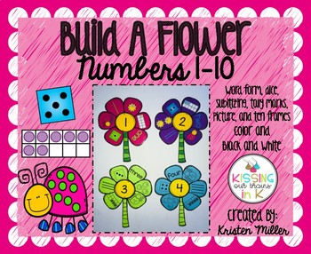SPRING Build A Flower Numbers 1-10 Color and Black and White