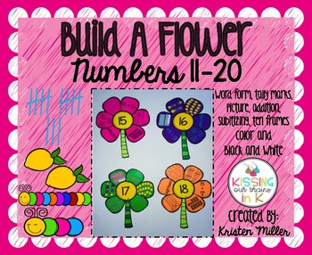 SPRING Build A Flower Numbers 11-20 Color and Black and White