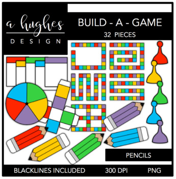 Build-A-Game Pencils Clipart {A Hughes Design}