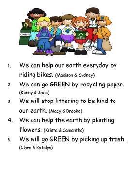 """Build-A-Green-Sentence"" Earth Day Pocket Chart Center"