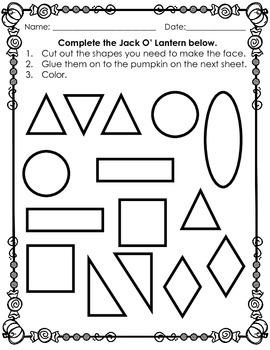 Build A Jack O' Lantern: Shape and Writing Activity