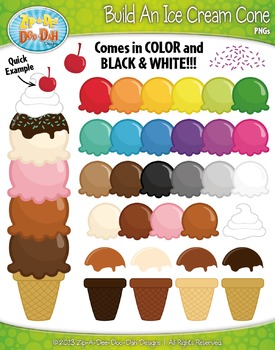 Build An Ice Cream Cone Clip Art Set — Over 50 Graphics!