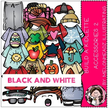 Melonheadz: Build A Kidlette Accessory clip art Part 2 - BLACK and WHITE