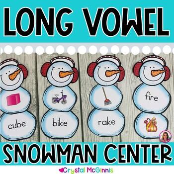 Build A Long Vowel Word Snowman! Winter Literacy Center Activity