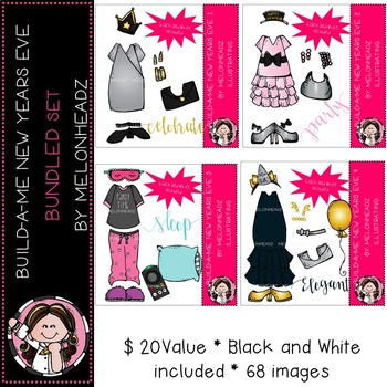 Build-A-Me clip art - New Years Eve bundled set - by Melonheadz