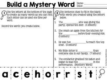 Build A Mystery Word, Interactive Word Work for grades 3-4