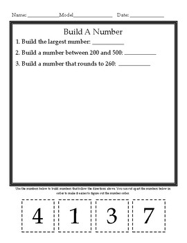 Build A Number -- Place Value/Comparing Numbers Center # 1