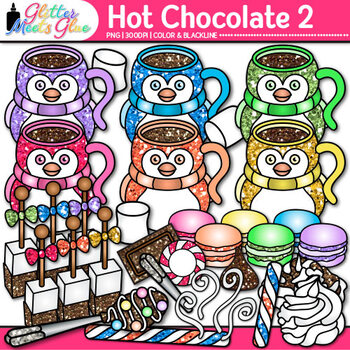 Hot Chocolate & Candy Clip Art   Winter Graphics of Food for Digital Resources 2
