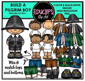 Build A Pilgrim Boy Clip Art Bundle {Educlips Clipart}