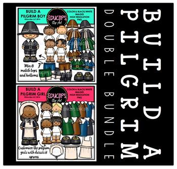 Build A Pilgrim Clip Art Double Bundle {Educlips Clipart}