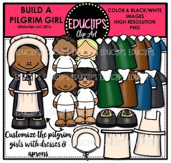 Build A Pilgrim Girl Clip Art Bundle {Educlips Clipart}