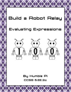 Build A Robot Relay: Evaluating Expressions- 6.EE.2c