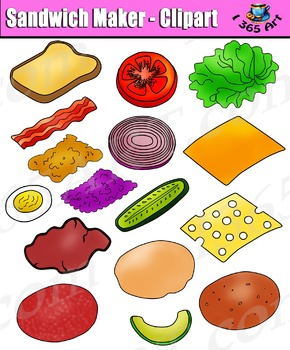 Build A Sandwich Clipart - Bread and Toppings Clip Art Pack