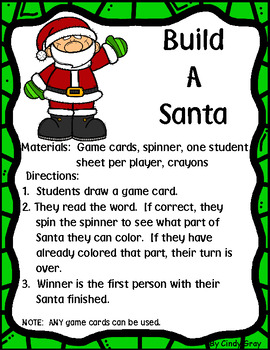 Build A Santa ~ High Frequency Word Game BONUS Oh no! Game