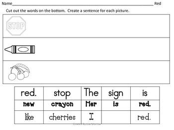 Build A Sentence Color Words