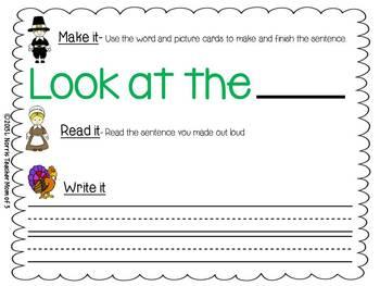Make a Sentence for November  Writing Center Activity