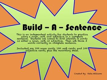 Build - A - Sentence Practice Activity