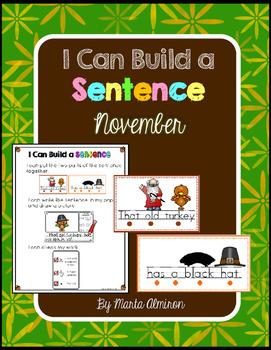 Build A Sentence for Beginner Writers - NOVEMBER