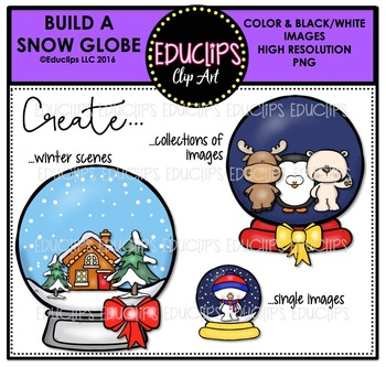 Build A Snow Globe Clip Art Bundle  {Educlips Clipart}