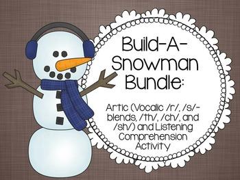 Build-A-Snowman Articulation and Listening Comprehension Bundle