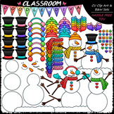 Build A Snowman - Clip Art & B&W Set