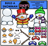 Build A Snowman Clip Art Bundle (Color and B&W) {Educlips Clipart}