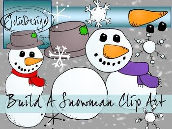 Build A Snowman Clipart - Color and Line Art 32 pc set