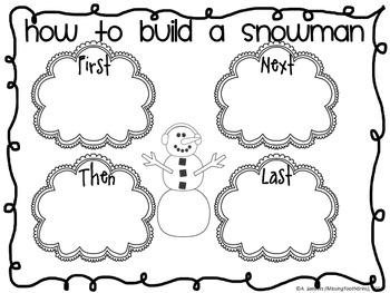 Build A Snowman Literacy Word Work Center Activities