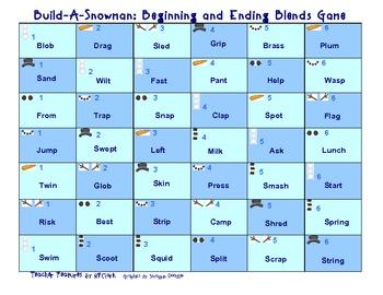 Build-A-Snowman Word Work Game