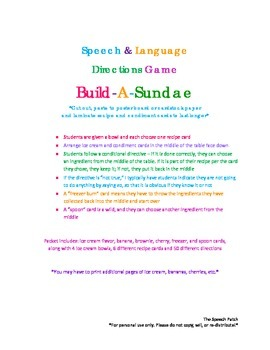 Build-A-Sundae Directions Game