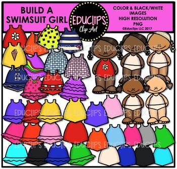 Build A Swimsuit Girl Clipart Bundle {Educlips Clipart}