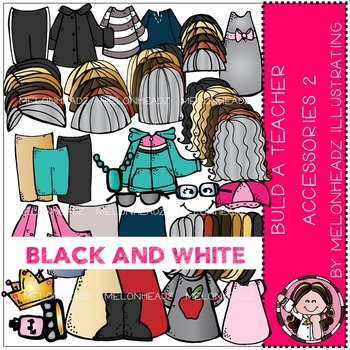 Build A Teacher Accessories clip art - BLACK AND WHITE - by Melonheadz