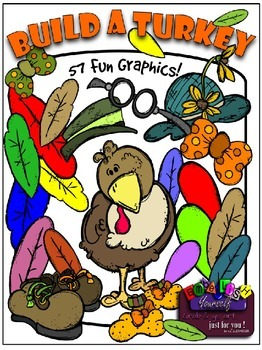 Build A Turkey Clipart (10 FREE Elements Included) Embellish Yourself Artworks
