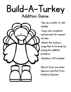 Build A Turkey Addition Game
