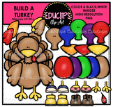 Build A Turkey Clip Art Bundle {Educlips Clipart}