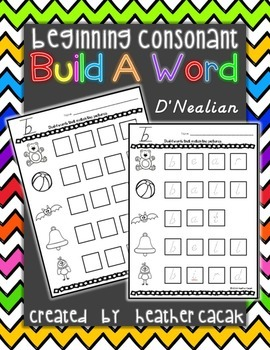 Build A Word (Word Work)  - Beginning Consonants (D'Nealian)