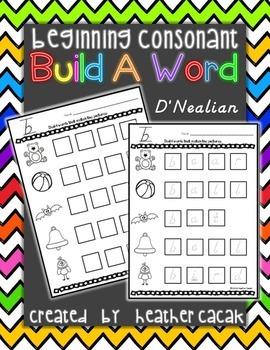 Build A Word (Word Work)  - Beginning Consonants (D'Nealian)