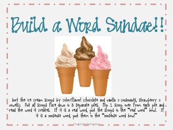 Build A Word Sundae CVC Words