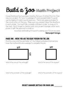 Build A Zoo Math Project