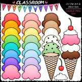 Build An Ice Cream Cone Clip Art & B&W Set