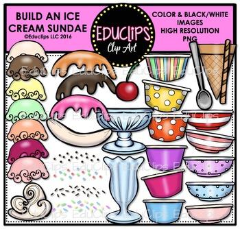Build An Ice Cream Sundae Clip Art Bundle {Educlips Clipart}