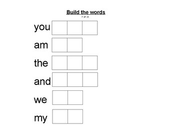 Build Fountas and Pinnell 25 High Frequency Words